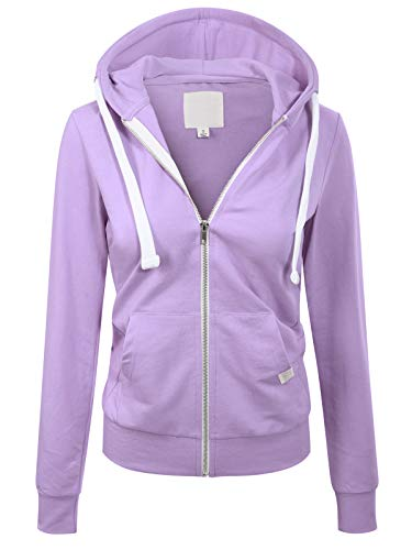 MixMatchy Women's Casual Long Sleeve French Terry Full Zip-UP Hoodie Sweatshirt Lilac M
