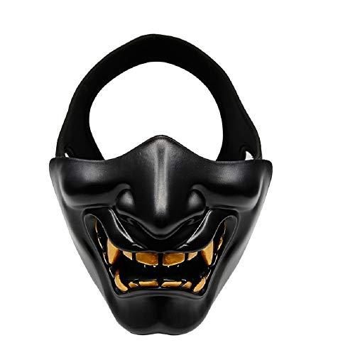 Japanese Airsoft Protective Oni Half Face Mask Outdoor CS War Game Tactical Prajna Hannya Motorcycle Evil Demon Knight Kabuki Headgear (Black)