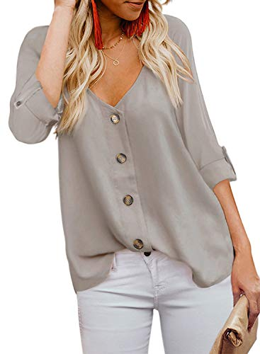 This Cute Long Sleeve Tops is Lightweight, Relaxed and Comfortable to Wear Feature: Sexy V Neck, Long Sleeve, Button Down, Loose Fit, Solid Basic Color Design Pair with variety of jeans, skirts, and jeggings for a look that's easy to love all season ...