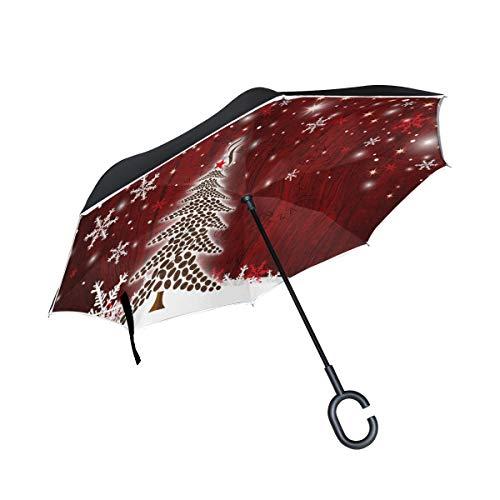 Bigjoke Doppelschichtiger umgekehrter Regenschirm, Weihnachtsbaum, Schneeflocke, Rückwärtsschirm, Winddicht, wasserdicht, für Auto, Outdoor, Reisen, Erwachsene, Herren und Frauen