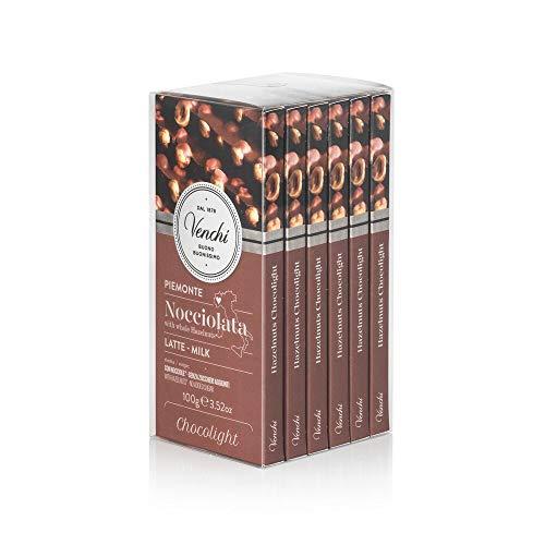 Venchi Kit Tavolette Chocolight Nocciolato Latte, 600g - Al Latte Senza Zuccheri Aggiunti Con Nocciole Piemonte I.g.p Intere - Set Di 6 - Senza Glutine, Cioccolato, 6 Unità