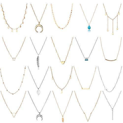 20 PCS Multiple DIY Layered Choker Necklace for Women with V Moon Star Multilayer Choker Chain Turquoise Y Necklaces Set Adjustable Gold Silver Bar Pendant Feather Necklace for Teens Girls Women