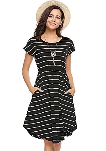 Halife Women Summer Elastic Waist Beach Midi Dress Casual Loose Swing Dresses Black,L
