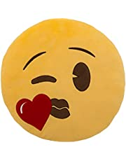 Emoji Character Heart Kiss Pillow - Yellow, 33 cm