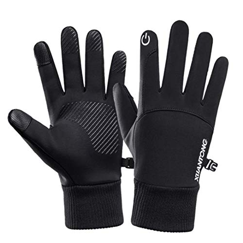 Odoukey Winterhandschuhe, Touch Screen Finger Wasserdicht warme Handschuhe für Skilauf Fahren Schwarz (m)