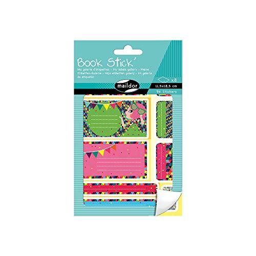 Maildor AE110O Book Stick´ Heft (mit 8 Bögen in Format DIN A6, 11, 5 x 18, 5 cm, 94 Etiketten, ideal für die Schule) 1 Heft, rot/rosa