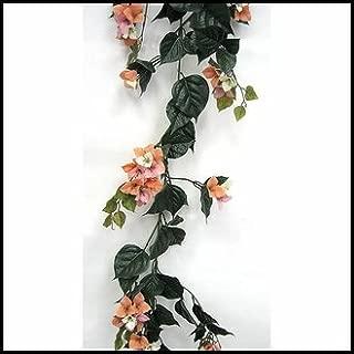 Windowbox Outdoor Artificial Bougainvillea Vines - 9.5' Garland - Peach/Pink/Cream Flowers