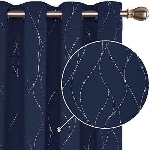 Deconovo Gardinen Blickdicht Ösen Vorhänge Muster Wohnzimmer Thermogardinen 175x140 cm Dunkelblau 2er Set