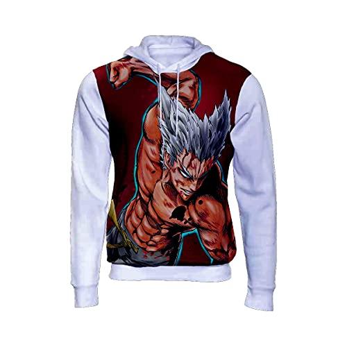 Moletom Blusa De Frio Garou Anime One Punch-man Full 3d 167 Branco Tamanho: 14; Cor: Branco