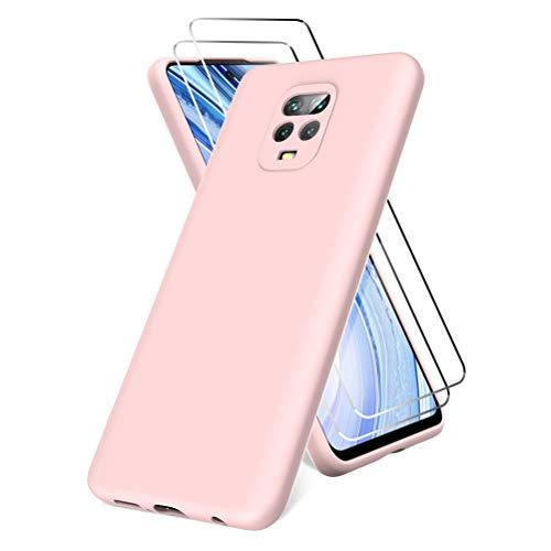 All Do Funda para Xiaomi Redmi Note 9S/9 Pro, Protector Pantalla Cristal Templado, Carcasa de Silicona Líquida Gel Ultra Suave Funda con tapete de Microfibra Anti-Rasguño - Rosa