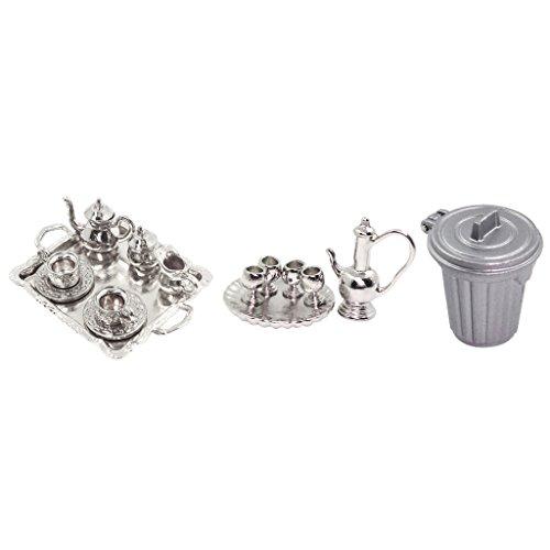 SM SunniMix 17 Piezas 1:12 Casa de Muñecas Miniatura de Metal Plateado Té Café Cafeteras Accesorio para Cubo de Basura