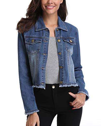 MISS MOLY Damen Jeansjacke Jacke Denim Kurz-Jacke Vintage Langhülse Beiläufige Outwear Leichte Taillierte Übergangsjacke