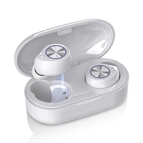 QueenDer Auriculares Bluetooth, Auriculares Inalámbricos Bluetooth con Micrófono HiFi Mini In Ear Touch Control Auriculares Resistente al Agua con Caja de Carga Portátil para iOS Android (Blanco)