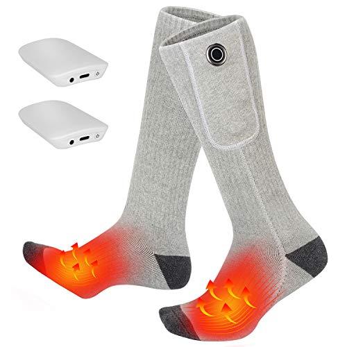 Clheatky Calcetines Calefactables para Hombre y Mujer, Eléctrico Calcetines Calientes Climatizada 3.7V 2000mAh Calentadas Calentador de Pies Ideal para Esquí Senderismo Pesca Cámping (Gris, XL)