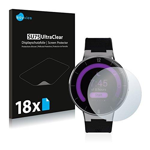 Savvies 18x Schutzfolie kompatibel mit Alcatel One Touch Watch Bildschirmschutz-Folie Ultra-transparent