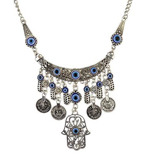 NASHUBIA Vintage Zilver Gesneden Bloem Letter Ronde Munt Kassen Turkije Blauwe Hand Fatima Palm Hangers Kettingen Voor Vrouwen