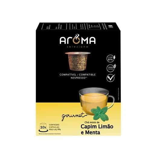 Cápsulas de Chá Capim Limão e Menta Aroma Selezione, Compatível com Nespresso, Contém 10 Cápsulas