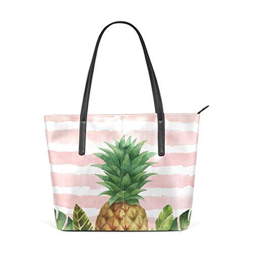 XGBags Custom Borsa a tracolla in pelle PU da donna Handbag Tropical Leaves And Pineapple Shoulder Bag Tote Bag for Girls Women
