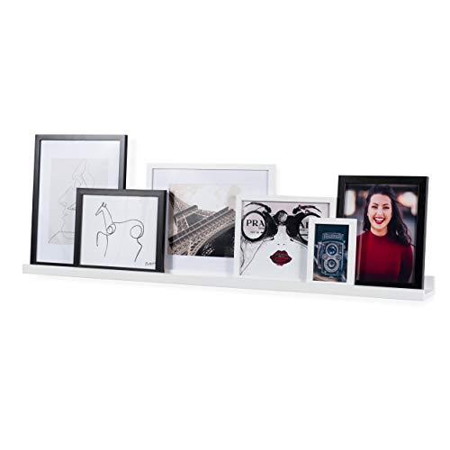 Wallniture Denver 46' Floating Shelf for Picture Frames, Books & Magazines, Wall Decor Picture Ledge, White