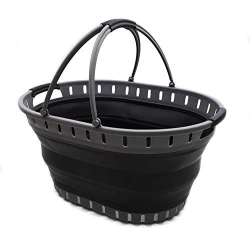 SAMMART Collapsible Plastic Laundry Basket - Foldable Pop Up Storage Container/Organizer - Portable Shopping Basket - Space Saving Hamper/Tub (Grey/Black)