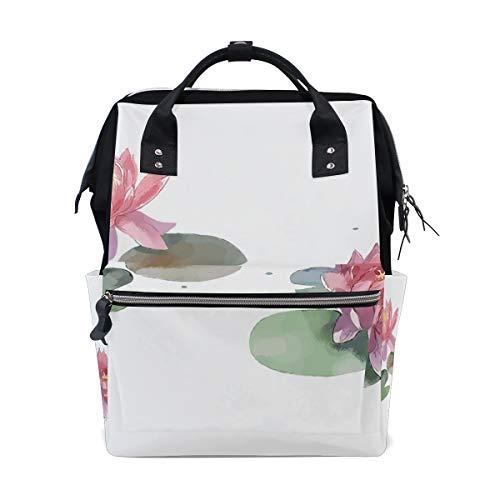 Elegante duftende Seerose Blumen große Kapazität Wickeltaschen Mama Rucksack Multi Funktionen Windel Pflege Tasche Tote Handtasche für Kinder Babypflege Reisen täglich Frauen