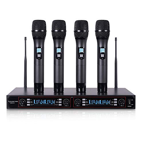 Sound Town 200-Channel Rack Mountable Professional UHF Wireless Microphone System with Metal Receiver and 4 Handheld Mics (NESO-U4HH)