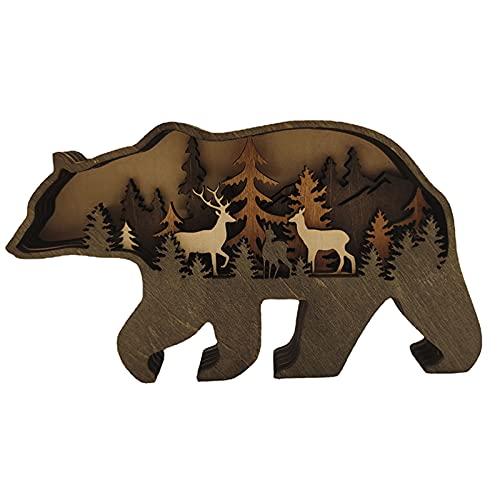 Acreny Casa de madera con diseño de animales del bosque, adorno de madera de varios capas, diseño de oso y alce