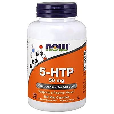NOW Supplements, 5-HTP (5-hydroxytryptophan) 50 mg, Neurotransmitter Support*, 180 Veg Capsules