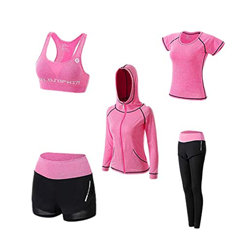 BBYU Damen Streatwear Trainingsanzüge Herbst und Winter 5-teiliges Yoga Sportswear Damenanzug Frauen Sportanzug Trainingsanzug Bekleidungsset Sport Sweat Suit Set Outfit