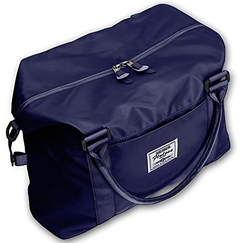Womens travel bags, weekender carry on for women, sports Gym Bag, workout duffel bag, overnight shoulder Bag fit 15.6 inch Laptop (Large, Navy Blue)