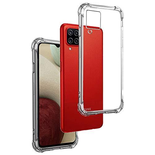 REY - Funda Anti-Shock Gel Transparente para Samsung Galaxy A12, Ultra Fina 0,33mm, Esquinas Reforzadas, Silicona TPU de Alta Resistencia y Flexibilidad
