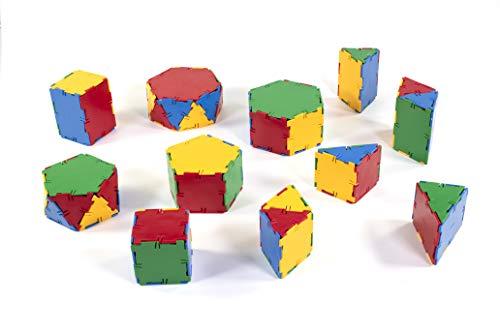 Miniland - Conexion: Set prismas, 84 Piezas en Bote con asa