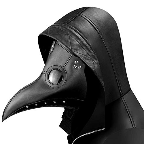 Arespark Maschera Medico della Peste, Naso Lungo Steampunk Becco di Uccello Costumi di Halloween Maschere (Nero)