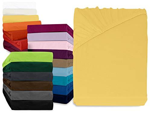 npluseins klassisches Jersey Spannbetttuch - erhältlich in 34 modernen Farben und 6 verschiedenen Größen - 100% Baumwolle, 70 x 140 cm, gelb