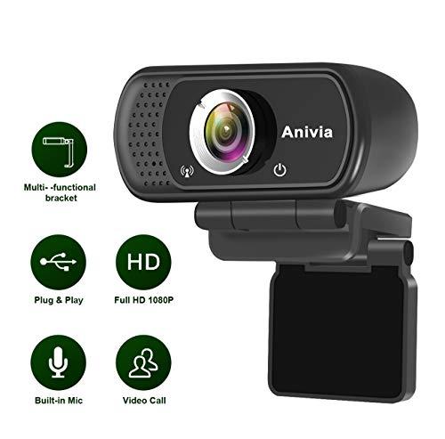 Anivia Webcam Full HD 1080p Webcam con Microfono W5 Desktop Portatile Mini USB Plug e Giocare per le Chiamate Video sul Desktop
