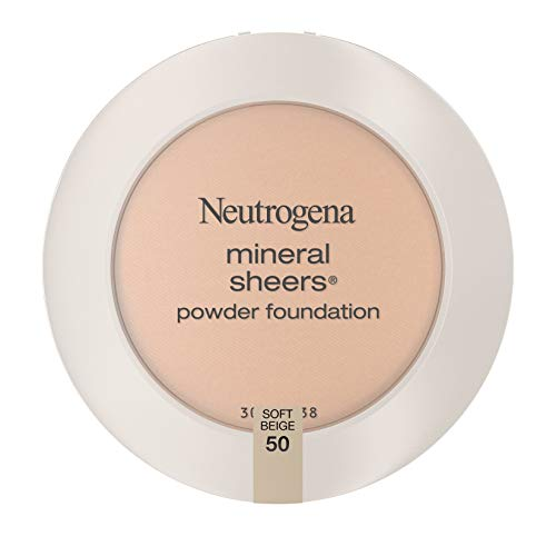 Neutrogena Mineral Sheers Compact Powder Foundation, Lightweight & Oil-Free Mineral Foundation, Fragrance-Free, Soft Beige 50,.34 oz