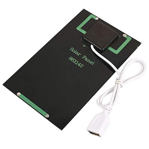 Cargador de batería de Panel Solar de 5 W y 5 V, módulo Solar de Bricolaje con Puerto USB, Placa de Carga Solar portátil para Exteriores para teléfonos móviles (Negro)