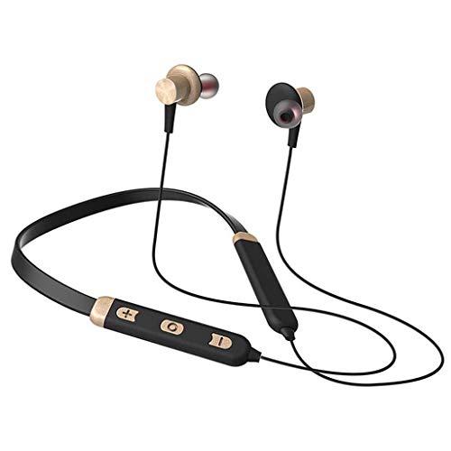 NXYJD Auriculares inalámbricos Bluetooth Headset Auriculares Deportivos magnéticos for Running IPX5 Impermeable Auriculares estéreo fidelidad de Sonido y micrófono con cancelación de Ruido