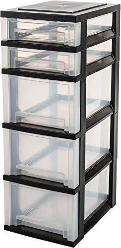 Iris Ohyama, torre memorizzazione su rotelle 5 cassetti - Smart Drawer Chest - SDC-323, plastica, nero/trasparente, 62L , 29 x 39 x 87 cm