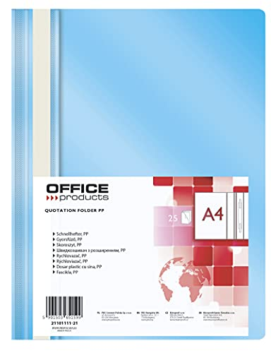 Office Products 21101111-21 Plastik Schnellhefter A4 Hellblau