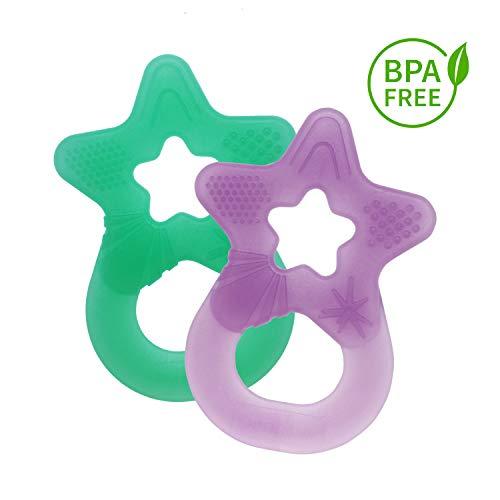 Dentistar® Baby Beißstern - 2er Set Beißring - Zahnungshilfe und Greifling - extra weich und flexibel - BPA frei - ab 3 Monaten - Made in Germany - mint + lila