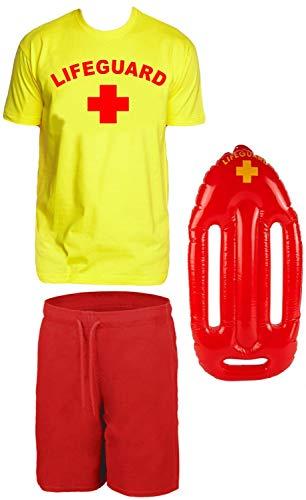 Lifeguard Kostüm Rettungsschwimmer 3 teilig Set T-Shirt Gelb + Badehose + schwimmboje Gr.M