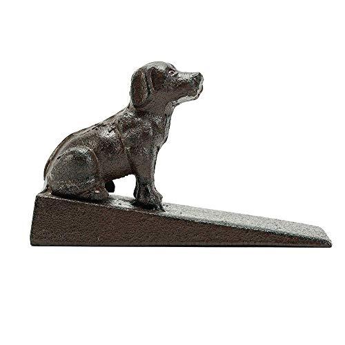 Sungmor Tope de puerta de hierro fundido resistente, diseño de perro, estilo antiguo, decorativo, bonito diseño de estatua de animales, soporte para puerta a prueba de viento, para patio, jardín