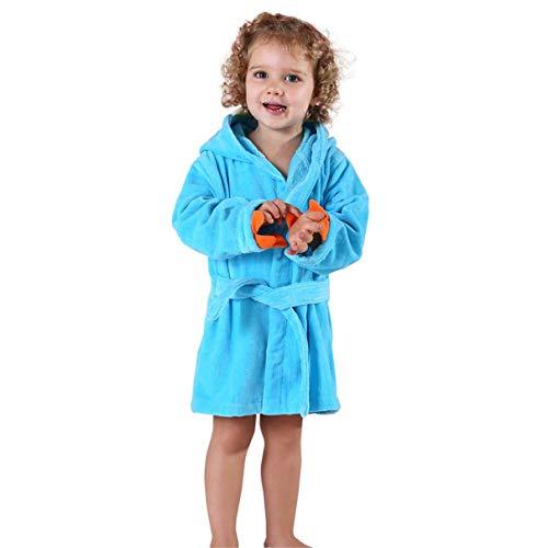 Nest Home Enfants Peignoir Robe de Chambre à Capuchon, Chemise de Nuit en Flanelle Robe de Bain garçons Filles Pyjamas Mignon Robe de Nuit (Bleu, Size L (3-5 Ans))