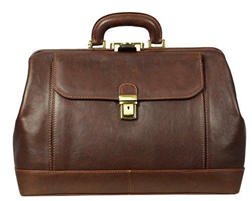 Leather Doctor Bag with Key Lock - Full grain Medical Handbag Doctors Briefcase Dyed by Vegetable Tanning Para Satchel Vintage Unisex - Time Resistance