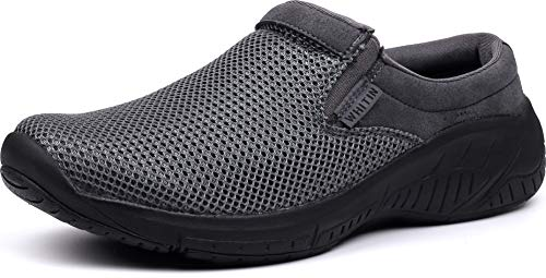 WHITIN Men's Slip On Mule Clogs Sneaker Casual Winter Slippers Arch Support Size 12 Air Cushion Comfortable Chefs Nurses Kitchen Outdoor Warm Work Shoes Slide for Male Black 46