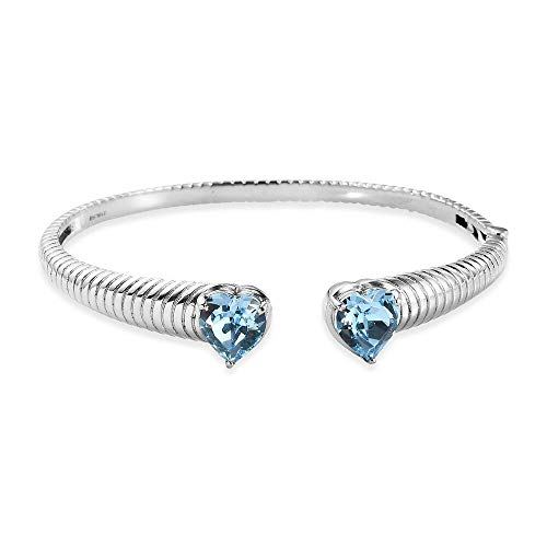 TJC J Francis Crystal from Swarovski Aquamarine Colour Crystal Heart Cuff Bangle (Size 7.5) in Stainless Steel, Perfect Design Jewellery Gift for Women and Girls