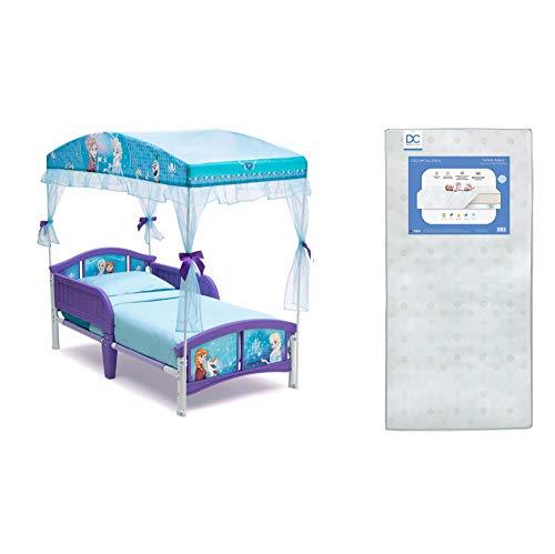 Delta Children Canopy Toddler Bed, Disney Frozen + Delta Children Twinkle Galaxy Dual Sided Recycled Fiber Core Toddler Mattress (Bundle)