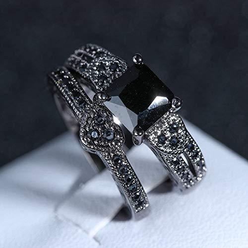 SUOYI Anillo De Obsidiana De Oro Negro De 14 Quilates Y 1,5 Quilates para Mujer, Anillo De Compromiso De Lujo Bizuteria Anillos con Piedras Preciosas De Oro De 14 Quilates Y Diamantes