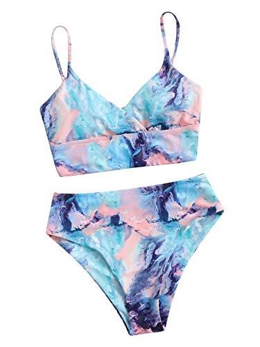 Floerns Women's Graphic Print Sleeveless High Waist Bikini 2 Piece Swimsuit Multi XL